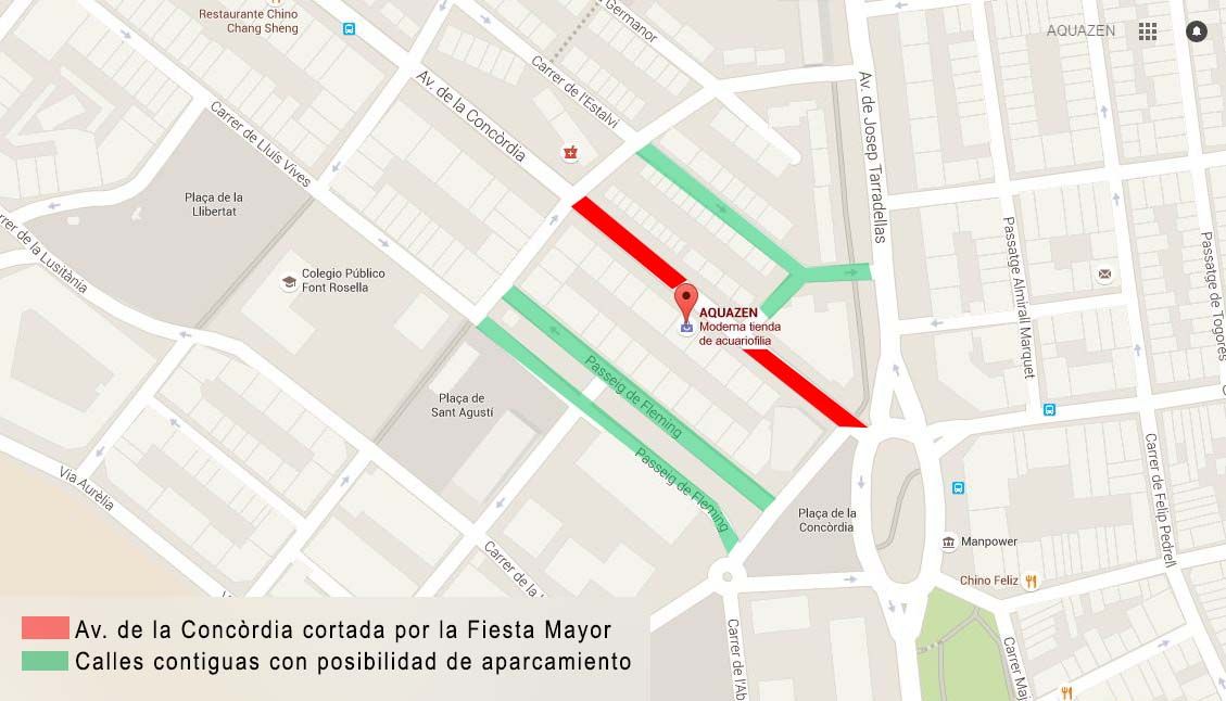 Mapa avenida cerrada Fiesta Mayor Concordia