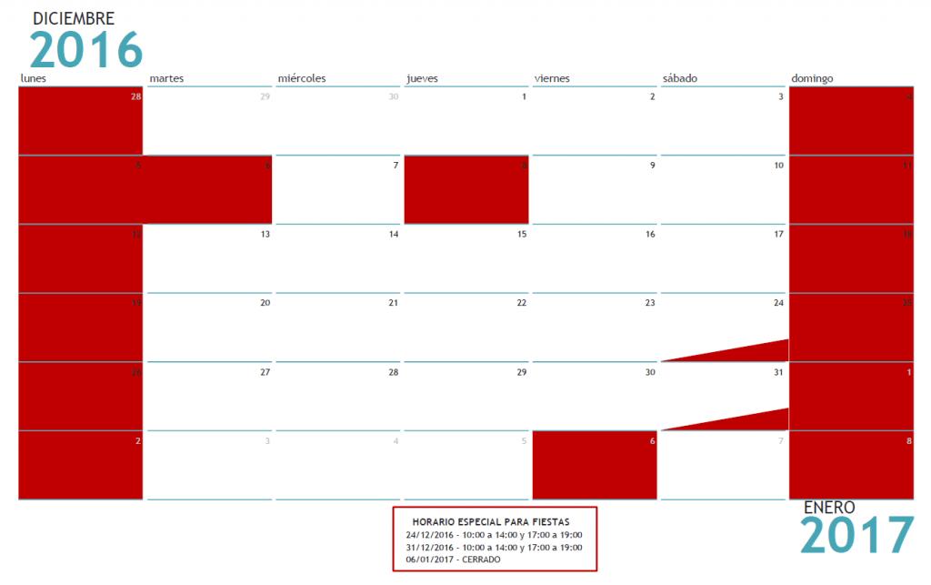 Calendario Fiestas 2016