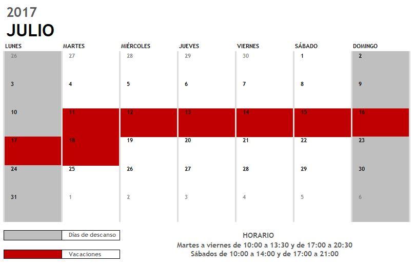 Calendario vacaciones verano 2017