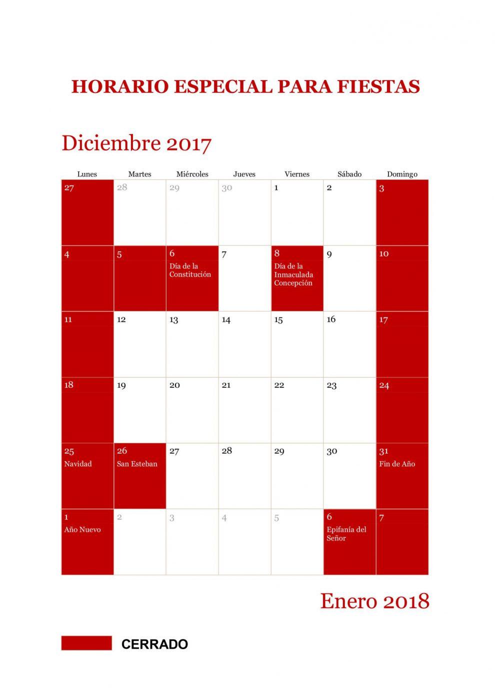 Horario fiestas 2017-2018