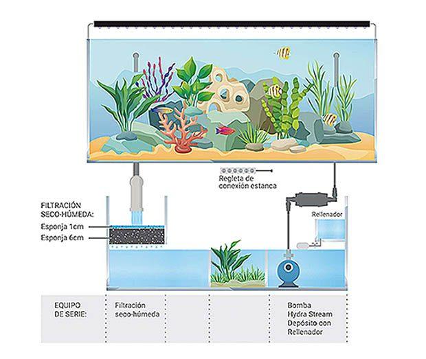 Kit acuario marino con sump 100 aqua ocean